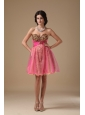 Multi-color A-line Sweetheart Mini-length Organza Beading Prom Dress
