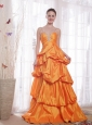Orange A-Line / Princess Straps Floor-length Taffeta Beading Prom Dress