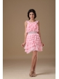 Pink A-line Scoop Mini-length Chiffon Beading Prom Dress