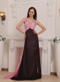 Pink and Black Column Straps Brush Train Elastic Woven Satin Beading Prom Dress