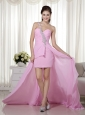 Pink Column / Sheath One Shoulder High-low Chiffon Beading Prom Dress