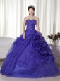 Purple Ball Gown Sweetheart Floor-length Organza Beading and Ruch Quinceanera Dress