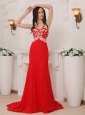Red Column Sweetheart Brush Train Chiffon Appliques Prom / Pageant Dress