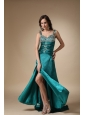 Turquoise Column Straps Brush Train Elastic Woven Satin Beading Prom / Evening Dress