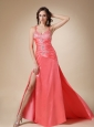 Watermelon Red Column Straps Brush Train Elastic Wove Satin Beading Prom / Evening Dress