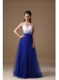 White and Royal Blue A-line Sweetheart Floor-length Tulle and Taffeta Beading Prom Dress