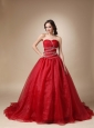 Wine Red A-Line / Princess Sweetheart Chapel Train Taffeta and Organza Beading Quinceanea Dress