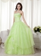 Yellow Green A-line Sweetheart Floor-length Organza Beading Prom Dress