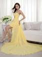 Yellow High-low Chiffon Prom Dress Column / Sheath Sweetheart Beading Evening  Dress