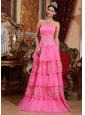 Pink Empire Strapless Floor-length Organza Lace Appliques Prom / Pageant Dress