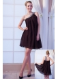 Brown Empire One Shoulder Mini-length Chiffon Beading Cocktail Dress