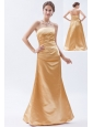 Champagne Column / Sheath Strapless Floor-length Satin Ruch Bridesmaid Dress