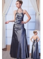 Gray Column Halter Floor-length Taffeta Beading Homecoming Dress