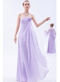 Lilac Empire Strapless Floor-length Chiffon Hand Made Flowers Bridesmaid Dress