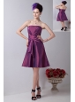 Purple A-line Strapless Knee-length Taffeta Ruch Cocktail Dress