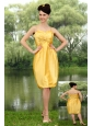 Yellow Column Straps Knee-length Taffeta Ruch Cocktail Dress