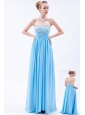 Baby Blue Empire Sweetheart Beading Prom Dress Floor-length Chiffon