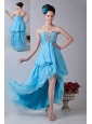 Baby Blue Empire Sweetheart Prom / Homecoming Dress High-low Chiffon