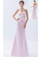 Baby Pink Mermaid Sweetheart Floor-length Satin Bow Bridesmaid Dress