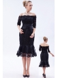 Navy Blue Column Off the Shoulder Tea-length Lace Beading Mother Of The Bride Dress