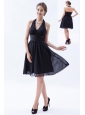 Black Empire Halter Knee-length Chiffon Ruch Bridesmaid Dress