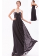 Black Empire Sweetheart Prom Dress Chiffon Beading Floor-length