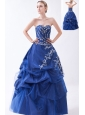 Blue A-line Strapless Prom Dress Appliques Floor-length Taffeta and Tulle