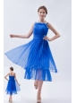 Blue Empire Straps Prom Dress Organza Ruch Tea-length