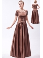 Brown A-line Scoop Floor-length Taffeta Beading Mother Of The Bride Dress