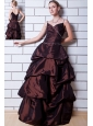 Brown A-line Straps Floor-length Taffeta Beading Mother Of The Bride Dress
