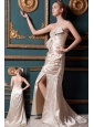 Champagne Column Sweetheart Brush Train Taffeta Beading Homecoming Dress