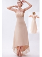 Champagne Empire Strapless High-low Chiffon Ruch Bridesmaid Dress