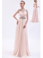 Pink Empire Straps Prom Dress Chiffon Beading Brush Train
