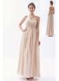 Champagne Empire Sweetheart Floor-length Chiffon Ruch Bridesmaid Dress