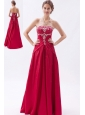 Wine Red Column / Sheath Strapless Prom Dress  Satin Embroidery with Beading Floor-length