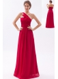 Wine Red Empire One Shoulder Floor-length Chiffon Ruch Bridesmaid Dress