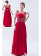Coral Red Empire Straps Prom Dress Beading Floor-length Chiffon