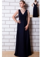 Black Chiffon Bridesmaid Dress Column V-neck Floor-length Bridesmaid Dress
