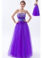 Eggplant Purple A-line / Princess Sweetheart Prom DressTulle Beading and Bow Floor-length