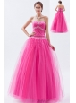 Hot Pink A-line / Princess Sweetheart Prom Dress Tulle Beading Floor-length