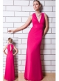 Hot Pink Column V-neck Prom Dress Chiffon Floor-length