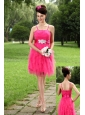 Hot Pink Empire Straps Mini-length Tulle Sashes Prom / Homecoming Dress