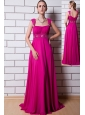 Hot Pink Empire Straps Prom Dress Chiffon Beading Floor-length
