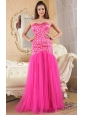 Hot Pink Mermaid Strapless Brush Train Prom Dress Organza and Taffeta Beading