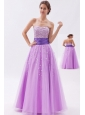 Lavender A-line / Princess Strapless Prom Dress Tulle Beading Floor-length