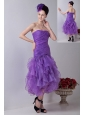 Lavender Mermaid Strapless Prom / Homecoming Dress Organza Ruch Tea-length