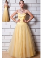 Gold A-line Sweetheart Prom Dress Tulle and Taffeta Ruch Floor-length
