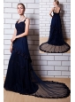 Navy Blue A-line Straps Chapel Train Tulle Appliques Homecoming Dress