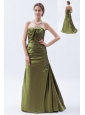 Olive Green A-line / Princess Strapless Brush Train Taffeta Ruch and Bow Bridesmaid Dress