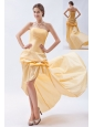 Champagne Column / Sheath Strapless High-low Prom Dress Taffeta Pick-ups